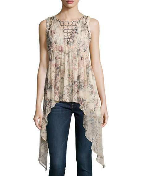 Haute Hippie Runway Sleeveless Printed Blouse w/ Ring