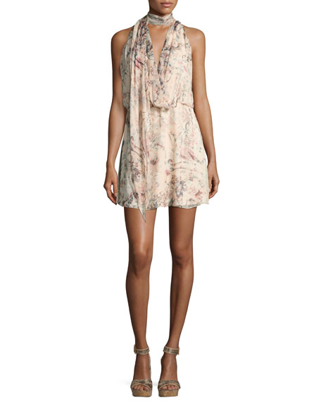 Haute Hippie Ginny Printed Halter Mini Dress