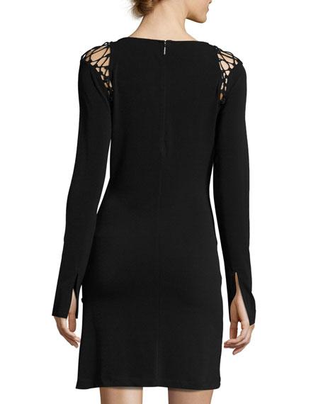 Runway Long-Sleeve Stretch-Knit Dress w/ Lace-Up Trim