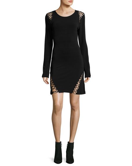 Haute Hippie Runway Long-Sleeve Stretch-Knit Dress w/ Lace-Up