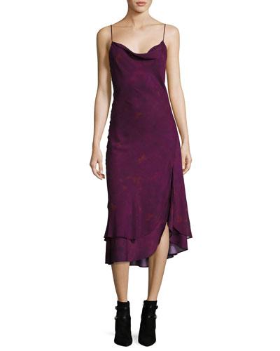 Cowl-Neck Sleeveless Printed Midi Dress