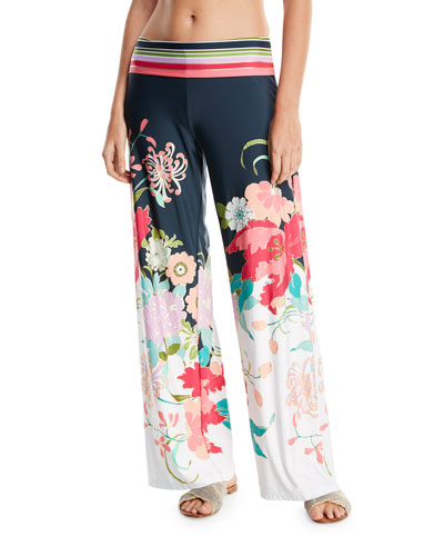 Royal Botanical Roll-Top Floral-Print Wide-Leg Beach Pants