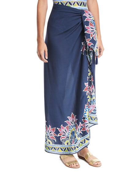 Lotus Batik-Print Pareo Coverup, One Size