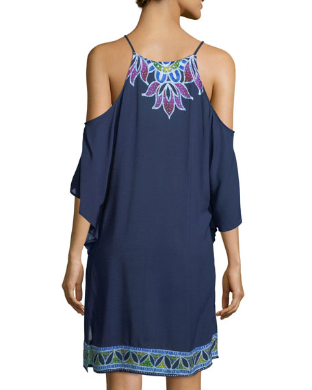 Lotus Batik Cold-Shoulder Crinkled Gauze Coverup Dress