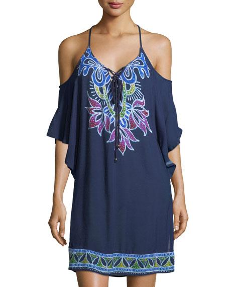 Lotus Batik Cold-Shoulder Crinkled Gauze Coverup Dress