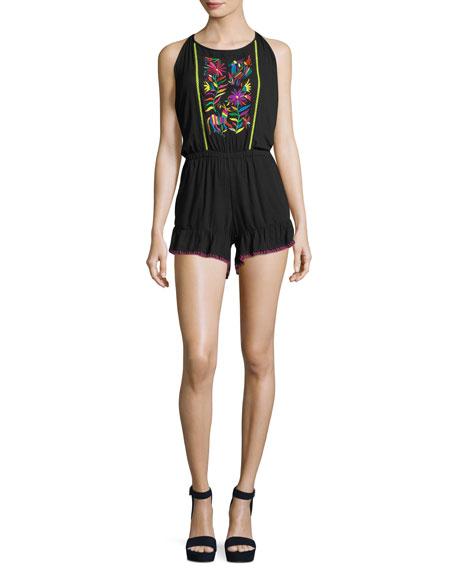 Nanette Lepore Isla Marietas Sleeveless Romper w/ Embroidery