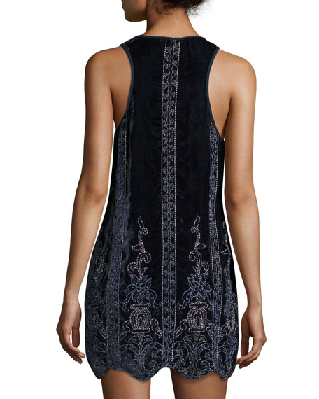 Carlotta's Heart Sleeveless Velvet Dress w/ Beaded Embellishments