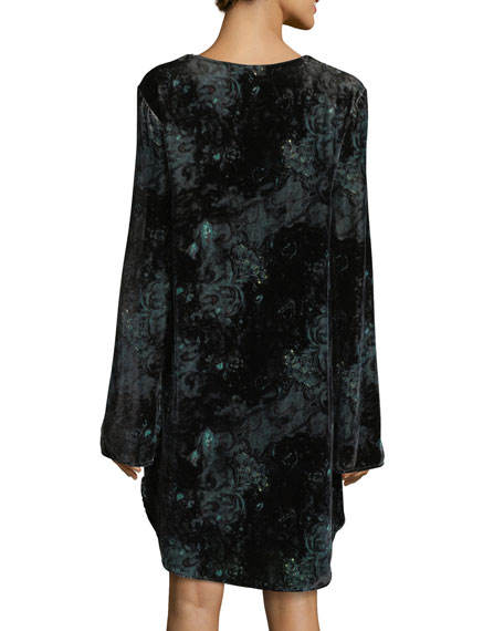 Lace-Up Long-Sleeve Velvet Tunic Dress