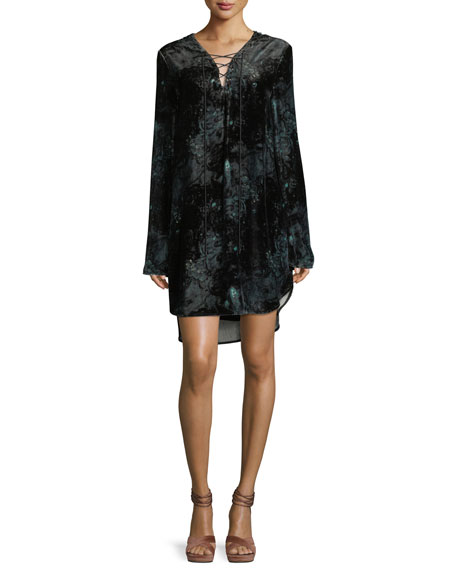 Haute Hippie Lace-Up Long-Sleeve Velvet Tunic Dress