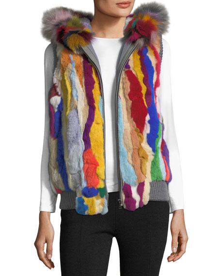 Jocelyn Zip-Front Hooded Fur Vest, Multi