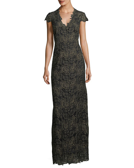 Meena Metallic Lace Column Gown, Black/Gold