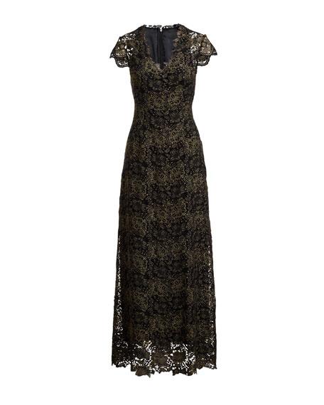 Meena Metallic Lace Column Gown, Black/Gold