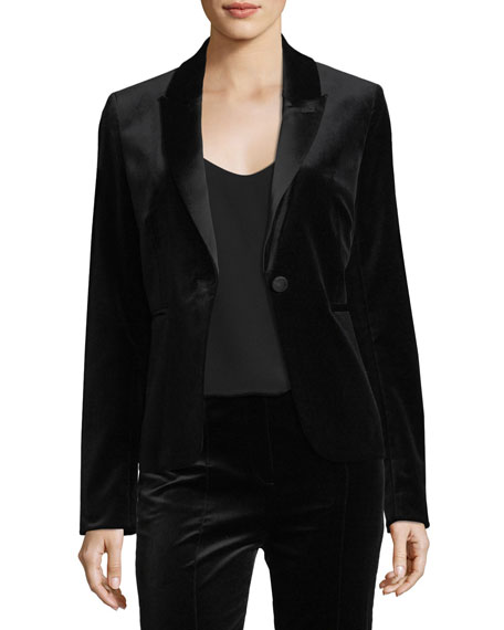 Single-Button Velvet Blazer