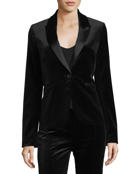 Diane von Furstenberg Single-Button Velvet Blazer
