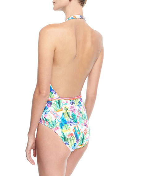Cactus Floral-Print Plunging One-Piece Swimsuit