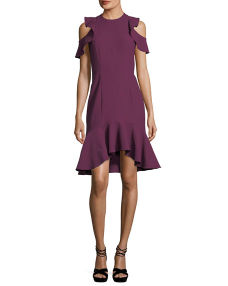 cinq a sept Micah Jewel-Neck Sheath Crepe Cocktail
