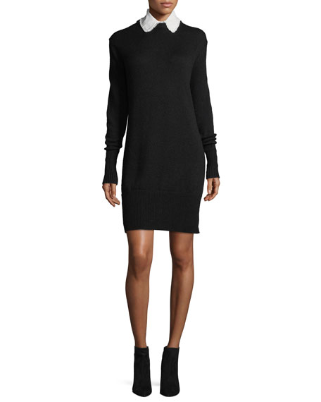 Jana Collared Wool-Blend Sweaterdress w/ Perforations