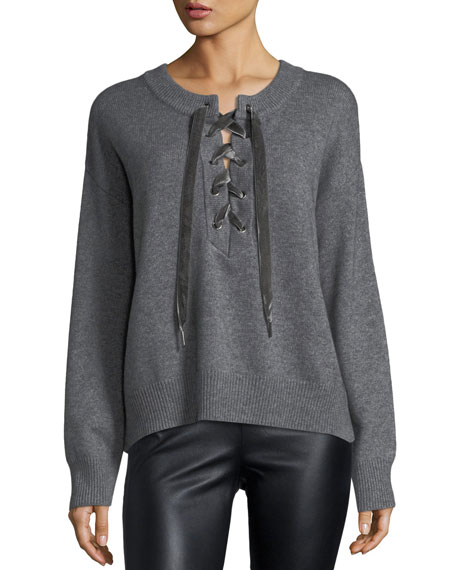 Olivia Lace-Front Long-Sleeve Wool-Cashmere Sweater