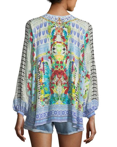 Deep-V Long-Sleeve Printed Silk Blouse