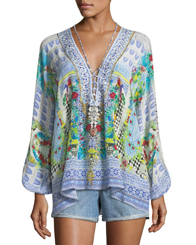 Deep-V Long-Sleeve Printed Silk Blouse