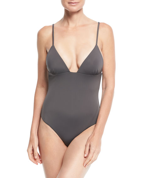 Virginia V-Neck Solid One-Piece Swimsuit