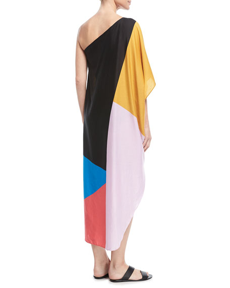 Noa One-Shoulder Caftan Coverup
