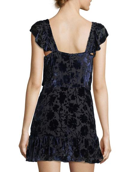 Alanis V-Neck Velvet Burnout Mini Dress