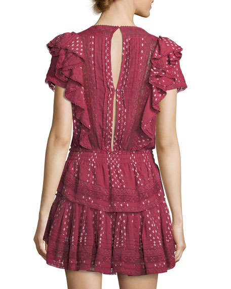 Stella Short-Sleeve Ruffled Lace Dress
