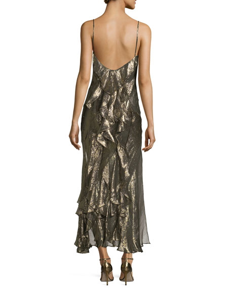 Ruffled V-Neck Sleeveless Metallic Slip Dress
