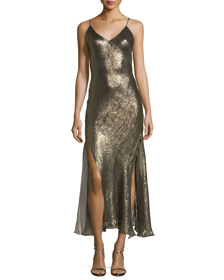 Loveshackfancy Ruffled V-Neck Sleeveless Metallic Slip Dress