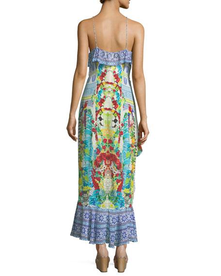 Embellished Ruffle Maxi Wrap Dress