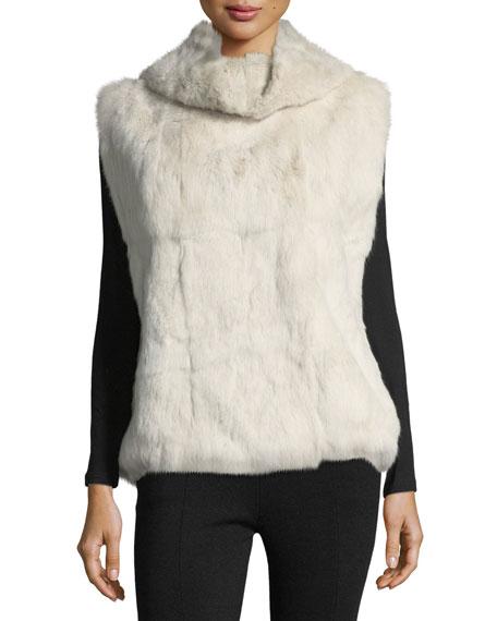 Pologeorgis Cowl-Neck Fur Pullover Vest