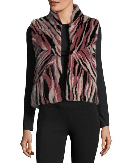 Stand-Collar Intarsia Fur Vest