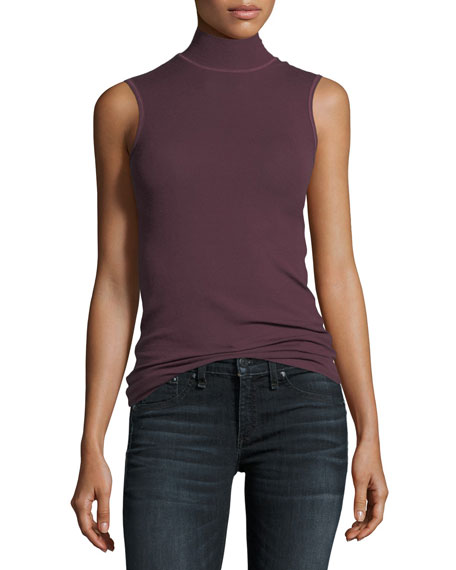 ATM Anthony Thomas Melillo Mock-Neck Sleeveless Stretch-Knit Top
