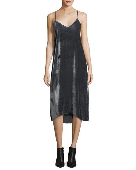 V-Neck Drapey Velvet Camisole Midi Dress