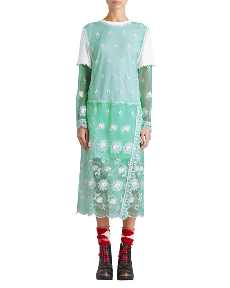 Long-Sleeve Tulle Midi Dress