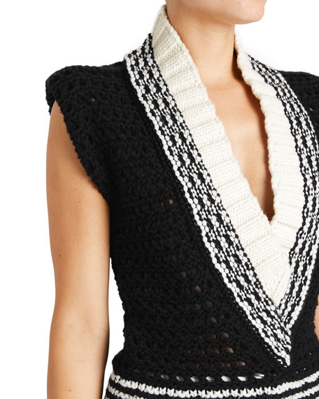 Knitted Wool V-Neck Vest