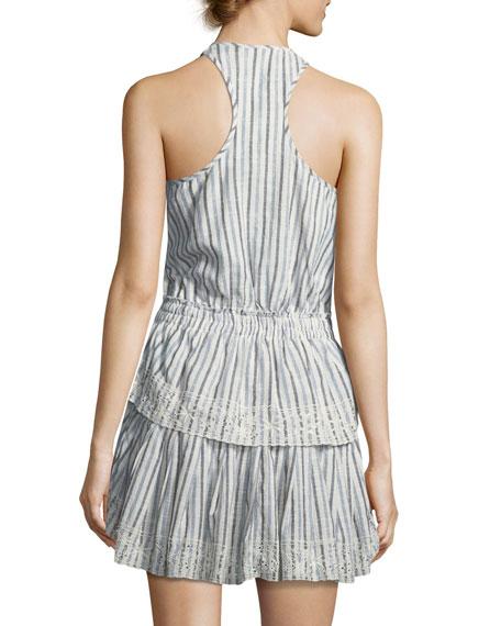 Racer Ruffled-Hem Cotton Mini Dress