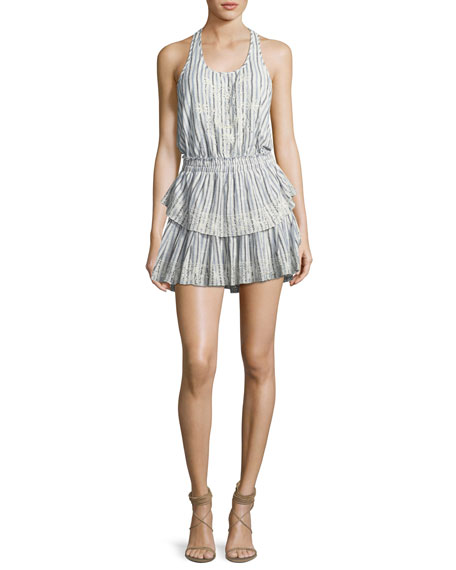 Loveshackfancy Racer Ruffled-Hem Cotton Mini Dress
