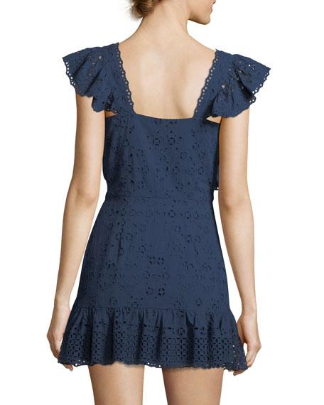 Alanis V-Neck Eyelet Cotton Mini Dress