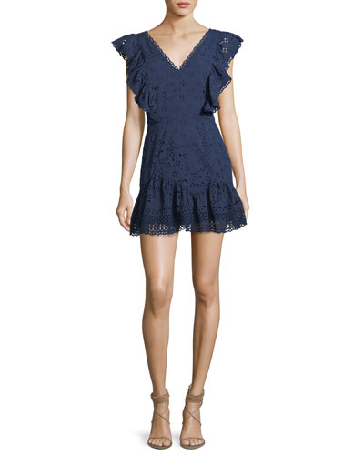 Alanis V-Neck Eyelet Cotton Mini Dress