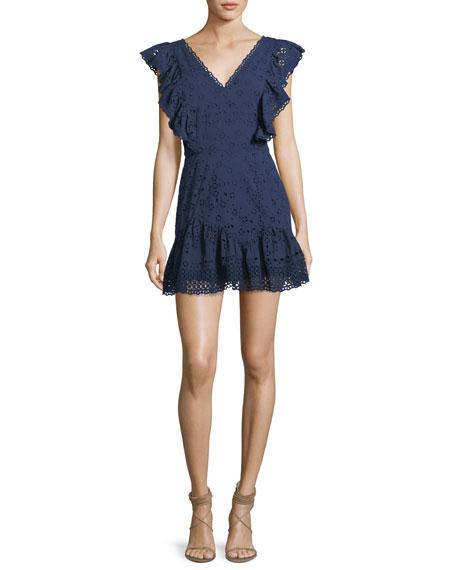 Loveshackfancy Alanis V-Neck Eyelet Cotton Mini Dress