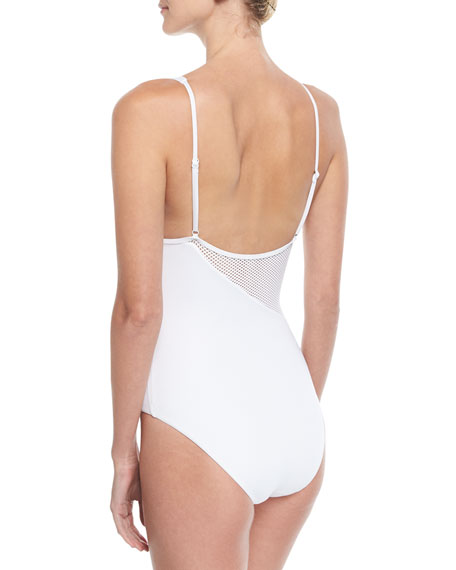 Iris Solid Mesh One-Piece Swimsuit