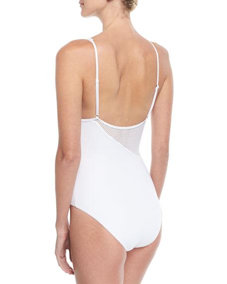 Iris Solid Mesh One-Piece Swimsuit