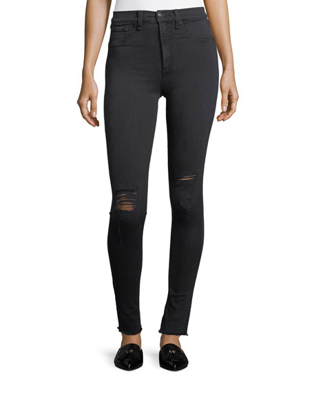 High Rise Skinny Jeans W/ Knee Rip