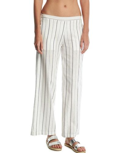 mila striped wideleg coverup pants