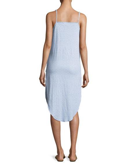 Flora Sleeveless Button-Front Cotton Coverup Shirtdress