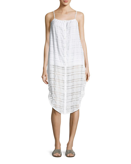 Onia Flora Button-Front Plaid Gauze Coverup Dress