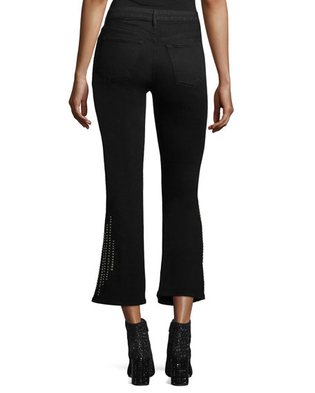 Cole Studded Crop Bell-Bottom Jeans