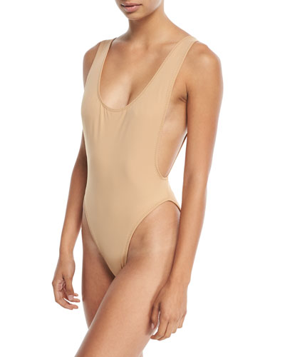 Marissa Scoop-Neck High-Cut Solid One-Piece Swimsuit